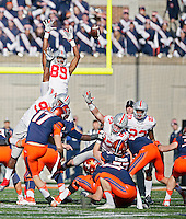 Ohio State Buckeyes wide receiver Jeff Greene (89) and Ohio State Buckeyes defensive lineman Joey Bosa (97) try to block the field goal of Illinois Fighting Illini place kicker Taylor Zalewski (17) in the first half at Memorial Stadium in Champaign, IL on November 9, 2015.  (Dispatch photo by Kyle Robertson)
