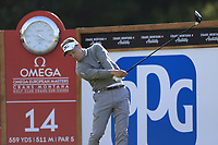 Luke Donald (ENG) tees off the 14th tee during Thursday's Round 1 of the 2017 Omega European Masters held at Golf Club Crans-Sur-Sierre, Crans Montana, Switzerland. 7th September 2017.<br /> Picture: Eoin Clarke | Golffile<br /> <br /> <br /> All photos usage must carry mandatory copyright credit (&copy; Golffile | Eoin Clarke)