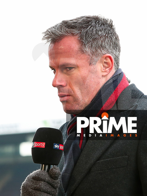 Jamie Carragher pitch side for Sky Sports during the EPL - Premier League match between Burnley and Everton at Turf Moor, Burnley, England on 3 March 2018. Photo by Thomas Gadd.