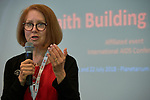 """Susan Hillis, a senior advisor to the Office of the U.S. Global AIDS Coordinator, speaks during a July 22 session of """"Faith Building Bridges"""" in Amsterdam, the Netherlands. The July 21-22 interfaith event, sponsored by the World Council of Churches-Ecumenical Advocacy Alliance, was held on the eve of the 2018 International AIDS Conference."""