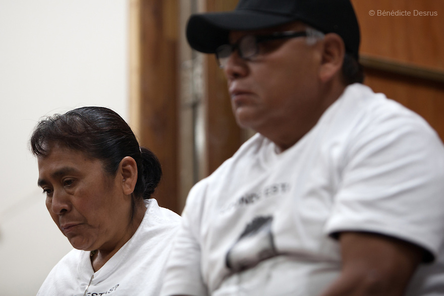 Parents of the 43 missing students from Ayotzinapa's teacher training college during a press conference at the University Center for Social Sciences and Humanities in Guadalajara, Jalisco, Mexico on November 18, 2014. The parents and relatives of the 43 missing students still do not believe the official line that the young men are all dead, and with classmates, social organizations and human rights defenders, they started on Thursday a national caravan. They split up into three different caravans, branching out to share information face to face with supporters in other cities and rally nationwide support. The three groups will meet in Mexico City on Thursday 20 for a general strike and massive marches to demand justice and fight against corrupted government and organized crime. Criticism of the government has intensified in Mexico, and many are demanding that the search for the 43 missing students continue until there is concrete evidence to the contrary. (Photo by Bénédicte Desrus)