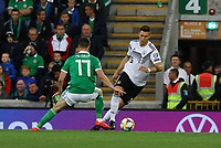 Niklas Süle (Deutschland Germany) gegen Shane Ferguson (Nordirland, Northern Ireland) - 09.09.2019: Nordirland vs. Deutschland, Windsor Park Belfast, EM-Qualifikation DISCLAIMER: DFB regulations prohibit any use of photographs as image sequences and/or quasi-video.