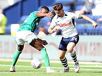 Preston North End's Sean Maguire gets past Sheffield Wednesday's Moses Odubajo<br /> <br /> Photographer Rich Linley/CameraSport<br /> <br /> The EFL Championship - Preston North End v Sheffield Wednesday - Saturday August 24th 2019 - Deepdale Stadium - Preston<br /> <br /> World Copyright © 2019 CameraSport. All rights reserved. 43 Linden Ave. Countesthorpe. Leicester. England. LE8 5PG - Tel: +44 (0) 116 277 4147 - admin@camerasport.com - www.camerasport.com