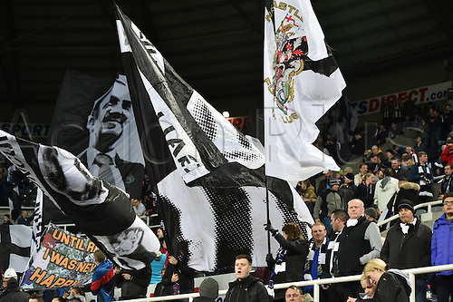 February 20th 2017, St James Park, Newcastle, England; Skybet Championship football, Newcastle versus Aston Villa; Newcastle flags flying waiting for kickoff