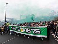 26th December 2019; Tynecastle Park, Edinburgh, Scotland; Scottish Premiership Football, Heart of Midlothian versus Hibernian FC; Hibs fans march to the stadium before the game