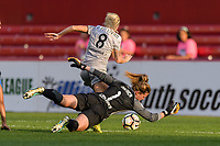 Bridgeview, IL - Sunday September 03, 2017: Denise O'Sullivan, Alyssa Naeher during a regular season National Women's Soccer League (NWSL) match between the Chicago Red Stars and the North Carolina Courage at Toyota Park. The Red Stars won 2-1.