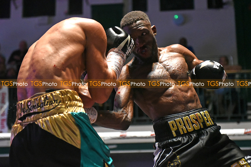 Kay Prospere (black shorts) defeats Sam O'Maison during a Boxing Show at York Hall on 7th September 2019