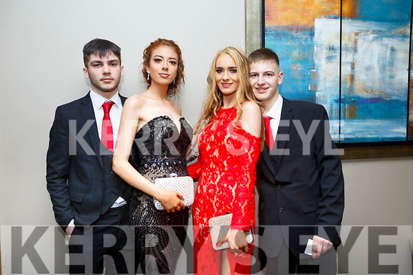 Enjoying the Castleisland Debs at Ballyroe Hotel on Friday were Kevin Lenihan, Kayla O Connor, Siobhán Brosnan, Danny Hickey