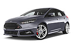 Stock pictures of low aggressive front three quarter view of a 2015 Ford Focus St 5 Door Hatchback Low Aggressive