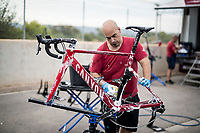 post-race bike cleaning & check at the Team Katusha-Alpecin hotel<br /> <br /> Stage 6: Mora de Rubielos to Ares del Maestrat (199km)<br /> La Vuelta 2019<br /> <br /> ©kramon