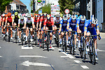 The peloton led by Deceuninck-Quick Step during the 83rd edition of La Fl&egrave;che Wallonne 2019, running 195km from Ans to Huy, Belgium. 24th April 2019<br /> Picture: ASO/Gautier Demouveaux | Cyclefile<br /> All photos usage must carry mandatory copyright credit (&copy; Cyclefile | ASO/Gautier Demouveaux)