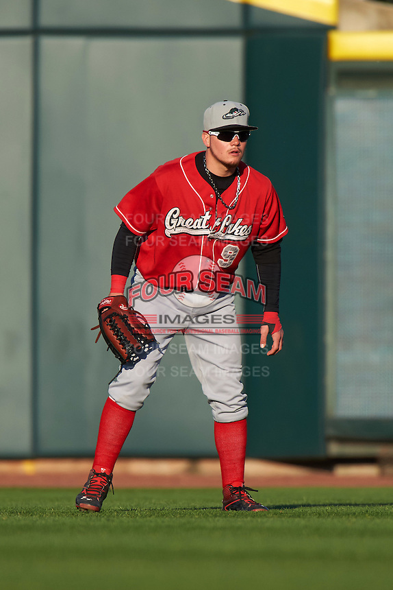Great Lakes Loons outfielder Alex Verdugo (9) during a game against the Dayton Dragons on May 21, 2015 at Fifth Third Field in Dayton, Ohio.  Great Lakes defeated Dayton 4-3.  (Mike Janes/Four Seam Images)