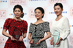 "December 7, 2016, Tokyo, Japan - (L-R)  Saori Yoshida, Rio de Janeiro Olympic silver medalist, actress Mitsuki Takahata and TV anchorwoman Rei Kikukawa smile as they received ""Oricon Style Queen Award 2016"" in Tokyo on Wednesday, December 7, 2016. Yoshida received the most favorable female athlete, Takahata received the most active actress and Kikukawa received the most intelligence woman award, which were selected by ordinary people.  (Photo by Yoshio Tsunoda/AFLO) LWX -ytd-"