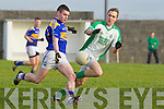 Darragh Kennelly of St Senans trys gets his kick past Ballyduff's Paud Costello in his penalty in The Bernard O'Callaghan Memorial Senior Football Championship quarter final replay last Sunday in Bob Stack Park, Ballybunion.