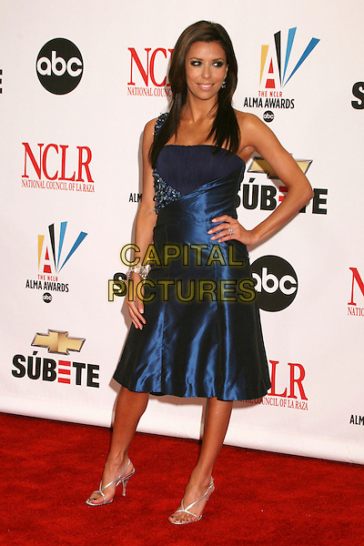 EVA LONGORIA .2007 NCLR ALMA Awards at the Pasadena Civic Center, Pasadena, California, USA..June 1st, 2007.full length blue one shoulder satin dress hand on hip .CAP/ADM/BP.©Byron Purvis/AdMedia/Capital Pictures