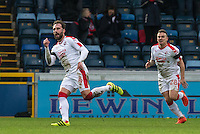 Josh Payne of Crawley Town celebrates his goal followed by Dean Cox of Crawley Town during the Sky Bet League 2 match between Wycombe Wanderers and Crawley Town at Adams Park, High Wycombe, England on 25 February 2017. Photo by Andy Rowland / PRiME Media Images.