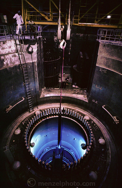The Reactor Core: checking control rod fit at the nuclear power plant at Laguna Verde, near Veracruz, Mexico. The Laguna Verde reactor is of the pressurized water (PWR) design. (1987).