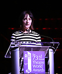 Carmen Cusack on stage at the 73rd Annual Theatre World Awards at The Imperial Theatre on June 5, 2017 in New York City.