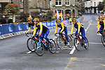 Team Sweden take advantage of free practice on the Harrogate Circuit before the Men Elite Individual Time Trial of the UCI World Championships 2019 running 54km from Northallerton to Harrogate, England. 25th September 2019.<br /> Picture: Eoin Clarke | Cyclefile<br /> <br /> All photos usage must carry mandatory copyright credit (© Cyclefile | Eoin Clarke)