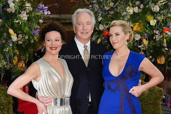 WWW.ACEPIXS.COM<br /> <br /> April 13 2015, London<br /> <br /> Helen McCrory, Alan Rickman and Kate Winslet arriving at the UK premiere of 'A Little Chaos' at the Odeon Kensington on April 13 2015 in London <br /> <br /> By Line: Famous/ACE Pictures<br /> <br /> <br /> ACE Pictures, Inc.<br /> tel: 646 769 0430<br /> Email: info@acepixs.com<br /> www.acepixs.com