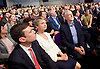 Labour Leadership <br /> Conference <br /> at The QE Conference Centre, Westminster, London, Great Britain <br /> 12th September 2015 <br /> <br /> seconds before<br /> announcement was made <br /> <br /> Andy Burnham <br /> Yvette Cooper and <br /> Jeremy Corbyn <br /> <br /> <br /> Photograph by Elliott Franks <br /> Image licensed to Elliott Franks Photography Services