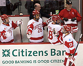 Evan Rodrigues (BU - 17) - Cason Hohmann (BU - 7), Sahir Gill (BU - 28), Buddy Powers (BU - Assistant Coach), Wade Megan (BU - 18), Larry Venis (BU - Trainer) - The Boston University Terriers defeated the visiting Northeastern University Huskies 5-0 on senior night Saturday, March 9, 2013, at Agganis Arena in Boston, Massachusetts.