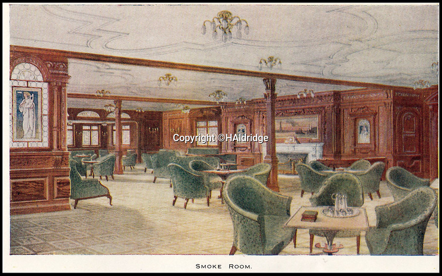 BNPS.co.uk (01202 558833)<br /> Pic: HAldridge/BNPS<br /> <br /> A smoke room on the Titanic.<br /> <br /> A rare holiday brochure for the Titanic has surfaced after 106 years.<br /> <br /> The brochure was specifically aimed at rich first and second class passengers and contained colourful images of the most luxurious parts of the doomed liner.<br /> <br /> It walked the reader through different parts of the 'unsinkable' ship, from the opulent reception room, to the Louis XVI period designed restaurant and the promenade deck.<br /> <br /> The sumptuous state rooms that cost the equivalent of £40,000 to stay in, are featured in the fascinating brochure as is the famous grand staircase that featured heavily in the 1997 movie starring Kate Winslet.