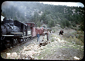 RGS #74 with a RMRRC trip southbound with caboose #0400, two gondolas, coach #311 and &quot;Edna&quot;.<br /> RGS  Pleasant Valley, CO  5/28/1949