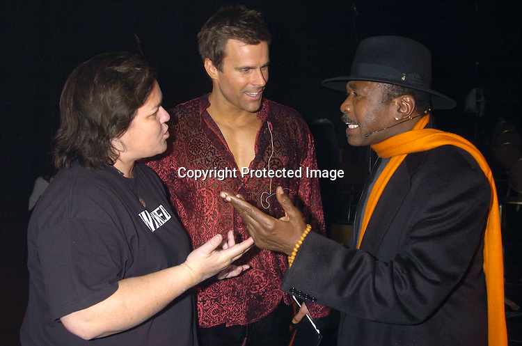"""Rosie O' Donnell, Cameron Mathison and Ben Vereen ..at a performance of """"Pippin"""" A Concert to Benefit The National Aids Fund and The Storm Theatre on November 29, 2004 at The Manhattan Center's Grand Ballroom...PHoto by Robin Platzer, Twin Images"""