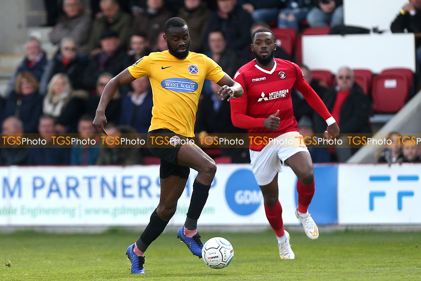 Emmanuel Onariase of Dagenham and Redbridge during Ebbsfleet United vs Dagenham & Redbridge, Vanarama National League Football at The Kuflink Stadium on 13th April 2019
