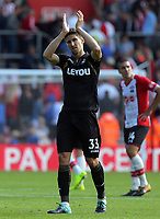 Federico Fernandez of Swansea City thanks away supporters at the end of the game during the Premier League match between Southampton and Swansea City at the St Mary's Stadium, Southampton, England, UK. Saturday 12 August 2017