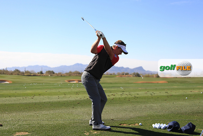 Luke Donald (ENG) swing sequence on the range during the practice day at the WGC Accenture Match Play Championship 2013, Dove Mountain, Morana, Arizona..Picture: Fran Caffrey / www.golffile.ie ..