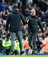 2nd November 2019; Etihad Stadium, Manchester, Lancashire, England; English Premier League Football, Manchester City versus Southampton; Southampton manager Ralph Hasenhuttl shakes hands with Manchester City manager Pep Guardiola at the final whistle - Strictly Editorial Use Only. No use with unauthorized audio, video, data, fixture lists, club/league logos or 'live' services. Online in-match use limited to 120 images, no video emulation. No use in betting, games or single club/league/player publications