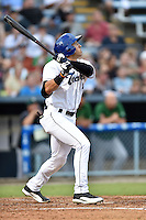 Asheville Tourists designated hitter Dillon Thomas #24 swings at a pitch during a game against the Savannah Sand Gnats at McCormick Field September 3, 2014 in Asheville, North Carolina. The Tourists defeated the Sand Gnats 8-3. (Tony Farlow/Four Seam Images)