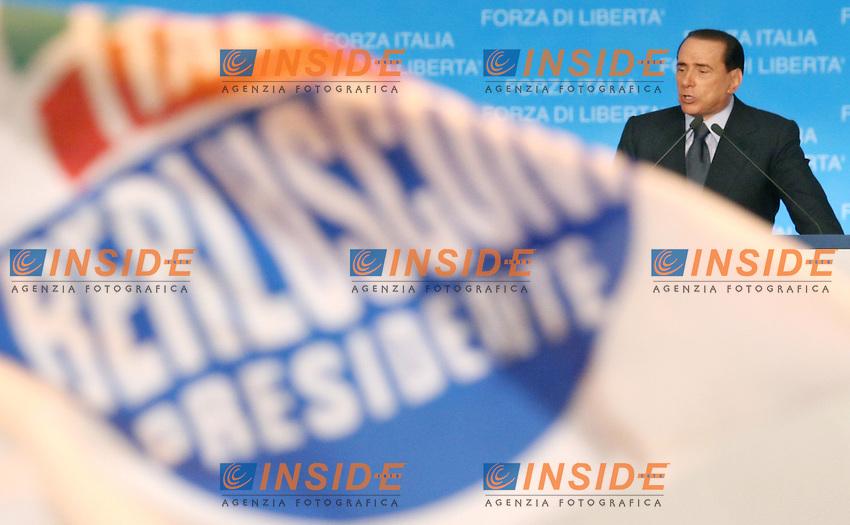 Roma 05-04-2006 Forza Italia:Chiusura dell Campagna Elettorale con Silvio Berlusconi<br /> Nella foto il leader di Forza Italia e Presidente del Consiglio Silvio Berlusconi durante il suo intervento<br /> Photo Serena Cremaschi Insidefoto