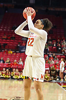 College Park, MD - March 25, 2019: Maryland Terrapins guard Blair Watson (22) attempts a jump shot during game between UCLA and Maryland at  Xfinity Center in College Park, MD.  (Photo by Elliott Brown/Media Images International)