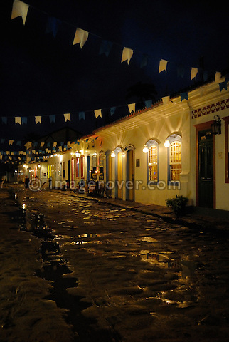 Paraty, Espirito Santo, Brazil: Nicely decorated historic centre of Party during the Nossa Senhora do Rosario and Sao Benedito Festival in November. The beautiful colonial town of Paraty has been a UNESCO World Heritage Site since 1958. --- No signed releases available.