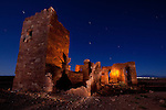 A moonlit view of the Barringer (or Meteor Crater) Observatory ruins, located near historic Route 66 and the Meteor Crater, outside of Winslow, Arizona
