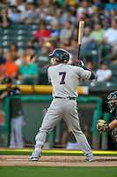Tyler Smith (7) of the Tacoma Rainiers at bat against the Salt Lake Bees in Pacific Coast League action at Smith's Ballpark on July 23, 2016 in Salt Lake City, Utah. The Rainiers defeated the Bees 4-1. (Stephen Smith/Four Seam Images)