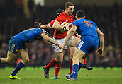17th March 2018, Principality Stadium, Cardiff, Wales; NatWest Six Nations rugby, Wales versus France; George North of Wales evades the attempted tackle by Geoffrey Doumayrou of France