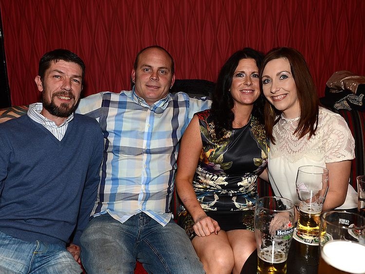Dave and Lisa Walsh and Justin and Mandy Hoey pictured at the Stephanie Smith benefit night in The Star Bar. Photo:Colin Bell/pressphotos.ie