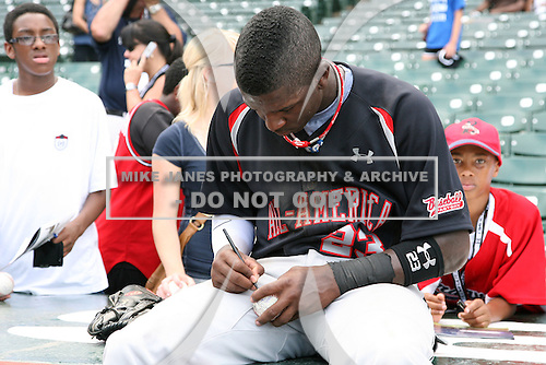 August 8, 2009:  Outfielder Trey Griffin (23) of the Baseball Factory team during the Under Armour All-America event at Wrigley Field in Chicago, Illinois.  (Copyright Mike Janes Photography)