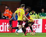 Crystal Palace's Wilfred Zaha goes down under the challenge of Watford's Adrian Mariappa during the premier league match at Selhurst Park Stadium, London. Picture date 12th December 2017. Picture credit should read: David Klein/Sportimage