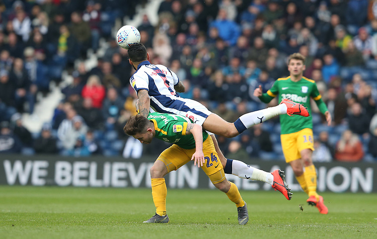 Preston North End's Sean Maguire and West Bromwich Albion's Kyle Bartley<br /> <br /> Photographer Stephen White/CameraSport<br /> <br /> The EFL Sky Bet Championship - West Bromwich Albion v Preston North End - Saturday 13th April 2019 - The Hawthorns - West Bromwich<br /> <br /> World Copyright © 2019 CameraSport. All rights reserved. 43 Linden Ave. Countesthorpe. Leicester. England. LE8 5PG - Tel: +44 (0) 116 277 4147 - admin@camerasport.com - www.camerasport.com