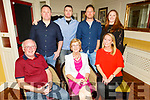 Eileen McCarthy from Greenview Terrace Tralee celebrating her birthday 6 months early, as all the family are together, on Tuesday in the Brogue Inn.<br /> Seated l to r: Seamus, Eileen and Lauren McCarthy.<br /> Standing l to r: Barry, Seamus Jr, Neilus and Audrey McCarthy.