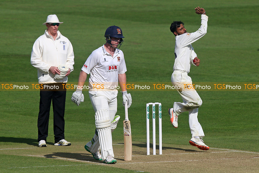 Abhiraj Singh in bowling action for Durham during Essex CCC vs Durham MCCU, English MCC University Match Cricket at The Cloudfm County Ground on 2nd April 2017