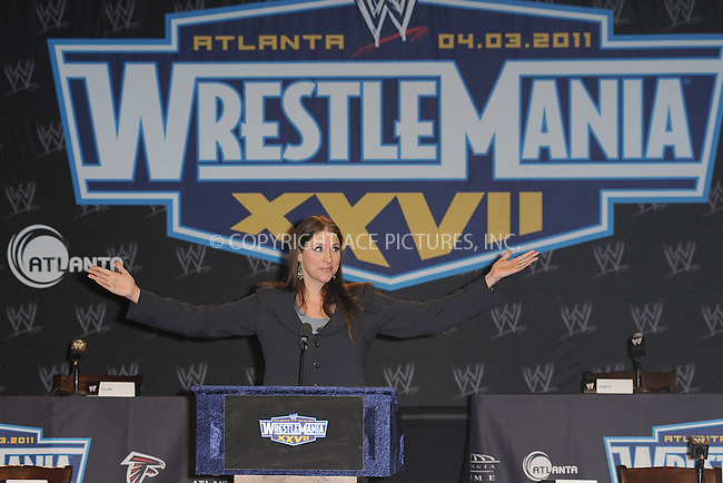 WWW.ACEPIXS.COM . . . . . .March 30, 2011...New York City...Stephanie McMahon attends the WWE  Wreslemania XXVII Press Conference at the Hard Rock Cafe on  March 30, 2011 in New York City....Please byline: KRISTIN CALLAHAN - ACEPIXS.COM.. . . . . . ..Ace Pictures, Inc: ..tel: (212) 243 8787 or (646) 769 0430..e-mail: info@acepixs.com..web: http://www.acepixs.com .
