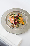 Highlands Restaurant in the Five Points South neighborhood of Birmingham, Alabama. Pictured here is cured and smoked trout and salmon with Jerusalem artichokes and pickled mushrooms