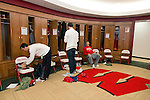 Wisconsin Badgers men's basketball players move into their new locker room on move-in day at the LaBahn Arena Monday, October 1, 2012 in Madison, Wisc. (Photo by David Stluka)