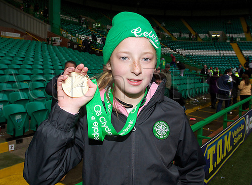 11.05.2013 Glasgow, Scotland.        Kathleen McGovern 10yrs old with Neil Lennon's Winners medal the Clydedsdale Bank Scottish Premier league game between Celtic and St Johnstone,  From Celtic Park  Stadium, Glasgow.